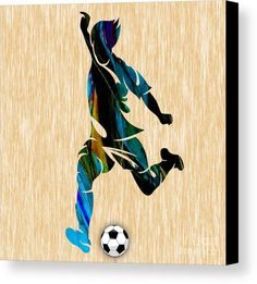 Men's Soccer Art Canvas Prints by Marvin Blaine.