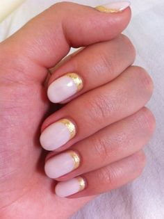 Light pink nails with gold strip at base. #nails #pink