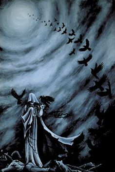 The Morrigan- Celtic Raven mother goddess, associated with war and death. Usually made up of three- Babd, Macha and Nemain.