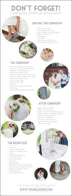 Photographer's Wedding Day Checklist