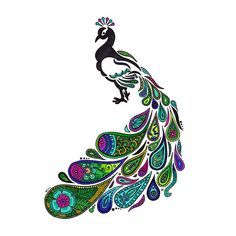 Small but detailed colorful peacock. Color: Colorful. Tags: Cool, Creative, Beautiful