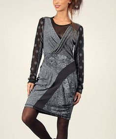 Another great find on #zulily! Gray Damask Surplice Dress by Angels Never Die #zulilyfinds