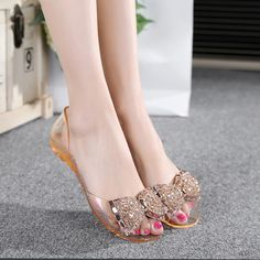 74e7238121adc Summer New Crystal Diamond Flat Transparent Jelly Slippery Fish Mouth Plastic  Beach Sandals Women Shoes Flats