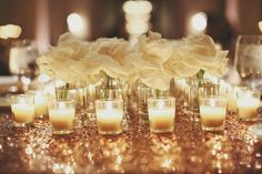 Rose and Votive Candle Centerpiece