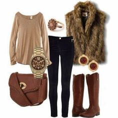 Woolen Warm Coat Jeans Long Boots And Stylish Watch