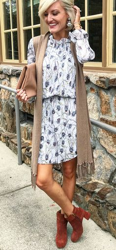 #fall #outfits  women's white and grey floral mini dress and brown scarf