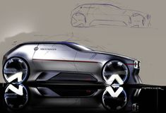 Volkswagen Golf Concept sketch by Jannik Becker ( designer at Jaguar . Car Design Sketch, Truck Design, Car Sketch, Car Interior Sketch, Volkswagen Golf, Volkswagen Beetles, Jaguar, Gti Car, Photoshop Rendering