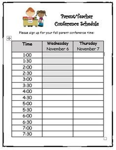parent conference sign in sheet