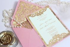 Lauren we could do the lace inside your envelopes?? Wedding Invitation vintage Gold Lace Blush Pink Ivory
