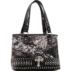 Health  Beauty Collection  - Mossy Oak Studded Camouflage Shoulder Bag w/ Cross & Croco Trim - Camo/Black $42.99