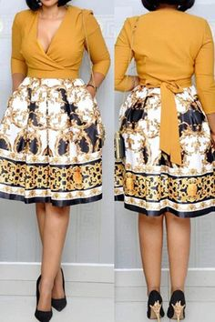 African Fashion V-Neck Patchwork Three-Quarter Sleeve Women's Day Dress African Fashion Ankara, Latest African Fashion Dresses, African Print Fashion, Women's Fashion Dresses, Indian Fashion, Short African Dresses, Ladies Day Dresses, Classy Work Outfits, African Attire