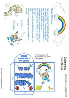 Tooth fairy letter envelope blue  on Craftsuprint designed by Carol Dunne - A letter to the tooth fairy which reads' My dear little friend, I was really thrilled to find the little tooth you left under your pillow last night. I have seen you playing with it when it was getting loose and I knew you would put it under your pillow when it came out. I have peeped around your bathroom door when you have been cleaning your teeth so I know how well you have looked after them. I have left you a ...