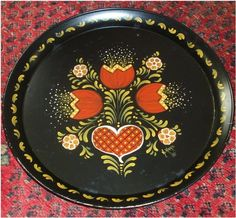 Vintage TOLE TRAY Pennsylvania Dutch Hearts and Flowers - Hand Painted Serving Tray - Black Red Yellow - Folk Art