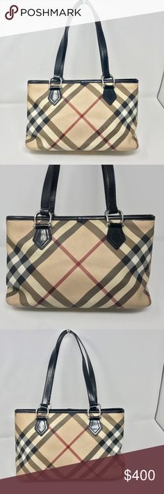 Burberry Nova Check Nickie Tote Bag Handbag Burberry Nickie Tote Coated  canvas with patent leather trim a33ab999820e5