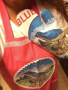 Oven mitt made from Blue Bird flour sack.