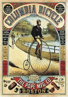 TARGA VINTAGE  1890 COLUMBIA BICYCLE  PUBBLICITA , ADVERTISING, POSTER, PLATE