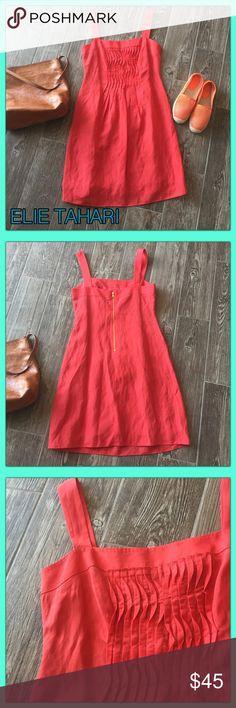 "🍊Gorgeous ELIE TAHARI Blood Orange  Linen blend ☄️Super Cute Linen ELIE TAHARI lined dress.🍊 Gorgeous color it's a blood orange, salmon mix. Measurements 37"" Length, Bust 16"" across size 2. Like new worn once to afternoon event.☄️ Material 54% Linen, 48% Viscose. Elie Tahari Dresses Midi"