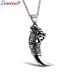 Louleur 2017 New Fashion Wolf Pendant Necklace for Men Hip Hop Punk 316L Stainless Steel Vintage Necklace Male Jewelry F8534 #Affiliate