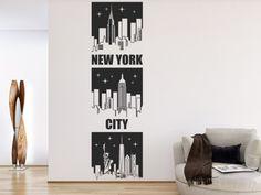 New York bei Nacht: Wandtattoo Banner New York City als kreative Silhouette mit funkelnden Sternen...