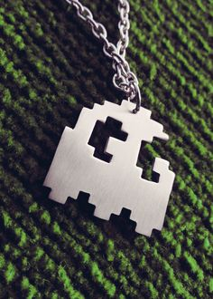 Pacman Pixel Art Ghost Geek Pendant Necklace by Graphmagics, $20.00