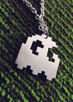 Pacman Pixel Art Ghost Geek Pendant Necklace #gaming #retro #jewelry