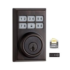 Kwikset Z-Wave SmartCode 910 Contemporary Single Cylinder Venetian Bronze Electronic Deadbolt Featuring SmartKey-910 CNT ZW 11P SMT CP - The Home Depot