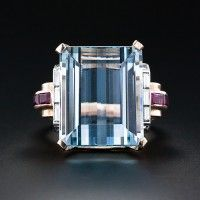 Circa 1930s emerald cut aquamarine ring with rubies....only because it happens to be my birthstone