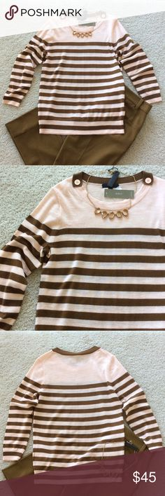 """J. Crew Tippi Striped Sweater J. Crew Tippi Stripped Sweater. Super cute brown and peach colors. 3/4 sleeves. Button details at the shoulders. 100% merino wool. Laying flat approx 24.5"""" shoulder to hem, approx 17"""" pit to pit. Size S. NWT, never worn. #392 J. Crew Sweaters"""