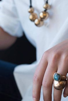 Julie Cohn Design Jewelry - Livia and Meteor rings with Orb necklace. Bronze Jewelry, Sea Glass Jewelry, Jewelry Box, Jewelry Accessories, Jewelry Design, Jewellery, Jewelry Trends, Jewelry Ideas, Yoga Armband