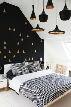 Black White and Gold Bedroom Decor . 30 Luxury Black White and Gold Bedroom Decor . Bedroom White Gold and Black Interior Love the Wall and Black Accent Walls, Black Walls, Gold Walls, Bedroom Black, Monochrome Bedroom, Black White And Gold Bedroom, Royal Bedroom, Black Light Room, Bedroom Neutral