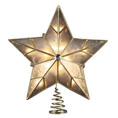 Kurt Adler 10-Light Capiz Wire Border Star Treetop, 10.25-Inch >> Final call for this special discount  : Christmas Tree Toppers