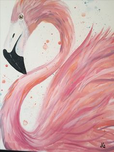 Pink Flamingo painting. Beginner canvas painting.