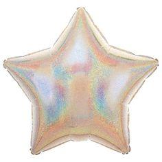 Sølv Glimmer Stjerne Folie Ballon - Single