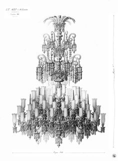Archive drawing for crystal chandelier. #Baccarat