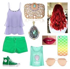 """Ariel casual look #disney"" by audrey1936 on Polyvore featuring mode, Earnest Sewn, Converse, Lipsy, Lagos, Casetify, TheBalm, Wildfox et Linda Farrow"
