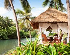 Where the murmurs of the backwaters play cupid!  #vivantabytaj #vivanta #Bekal #Kerala #Backwaters #gazebo #couple #romantic