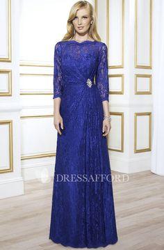 1dd384dafc Bateau allover Lace 3-4-sleeve Sheath Dress With central Draping - Dress  Afford