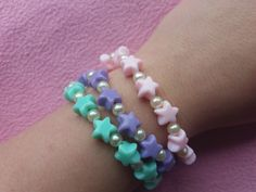 Kandi Bracelets, Cute Bracelets, Colorful Bracelets, Beaded Bracelets, Pastel Fashion, Summer Jewelry, Heart Shapes, Rave, Harajuku