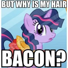 Twilight Sparkle  My Little Pony: Friendship is Magic << because everyone, er, everypony loves bacon