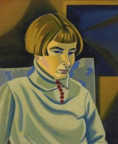 Rita Angus (New Zealand 1908 - 1970), Portrait of Jean Angus, o/c, 1937. Angus's sister Jean was seven years younger than Rita. The two siblings were close, although Jean was less assertive than Rita and complained about her sister's bossiness. Rita found Jean an attractive subject with her fine features and bobbed hair. She painted this portrait of her sister by firelight, taking an experimental approach in her use of strong colours and abstract patterns. Private collection.