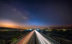 """Insomnia"" -- #wallpaper by ""hateom"" from http://interfacelift.com -- A motorway heading in the direction of Limassol city, Cyprus. The appearance of the Milky Way in the sky was totally unexpected as it couldn't be seen with the naked eye.    Nikon D700, Nikon AF-S NIKKOR 14-24mm f/2.8G ED, Manfrotto tripod. Adobe Photoshop CS6. -- Available as #wallpapers in any resolution at: http://interfacelift.com/wallpaper/details/3025/insomnia.html"