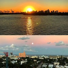 The sun sets and the supermoon rises #miami #supermoon