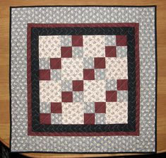 Quilted Table Topper Wall Hanging Gray Red by HollysHutch on Etsy