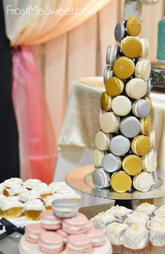Macaron cone gold and silver by Frost Me Sweet