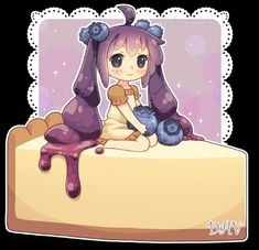 Anime, Chibi, Girl, If food was an anime character. I love cheescake Kawaii Anime, Cute Anime Chibi, Kawaii Chibi, Kawaii Art, Manga Art, Manga Anime, Anime Art, Chibi Food, Chibi Girl