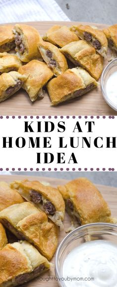 Kids at Home Lunch Idea - This is a fun an easy meal with some leftover items you might have in your home right now. Enjoy finger foods for the kids with dipping sauce. Lunch Ideas Kids At Home, Easy Lunches For Kids, Healthy Lunches For Work, Toddler Lunches, Kids Meals, Lunch Kids, Lunch Recipes, Kid Recipes, Easy Biscuit Recipe