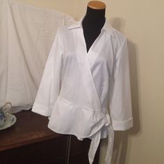 Wrinkle resistant, white, wrap shirt/blouse Crisp, wrap and tie shirt/blouse, 3/4 sleeve Coldwater Creek Tops Blouses