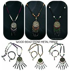 *Black, white and purple wood bead and gemstone necklace and bracelet set. *Cherry wood and antique brass bead mix with heart medallion Necklace and bracelet set. *Red, black and green wood bead and antique brass heart medallion necklace and bracelet set.