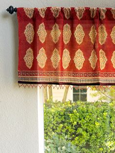 Red Orange Moroccan Style Print Window VALANCE: An easy way to complement the look of your Spice Route curtains and enhance the exotic feel, is to add a coordinating valance. On its own, the valance will add vibrant color, style and softness to your windows. Consider painting the window wall one of the print colors, and add curtain rods in antiqued bronze with ornate finials to elevate the Moroccan vibe.