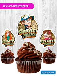 12 Toppers Gravity Falls Nickelodeon for cupcakes download